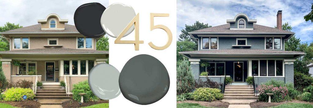 Oak Park House Exterior Paint Colors Consultation - Before and After | Nicole Balch Design